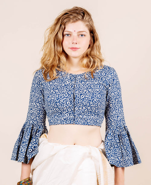 Blue and White Round Neck Hand Block Printed Crop Top Blouse