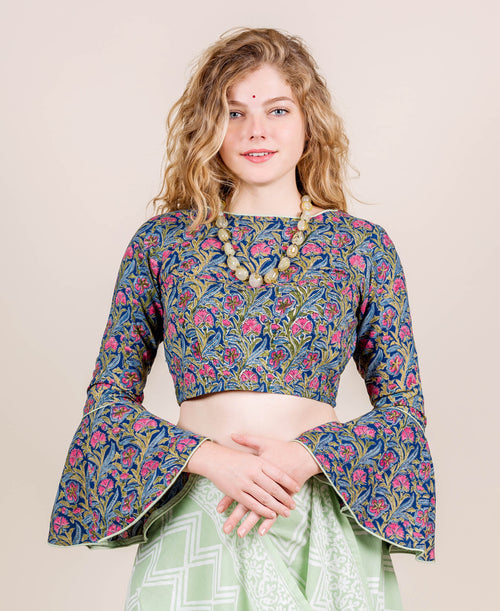 Multi Color Hand Block Printed Crop Top Blouse