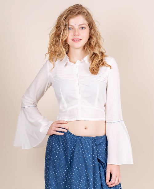 White Bell Sleeves Crop Top Blouse