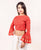 Orange Hand Block Printed Blouse with Bell Sleeves