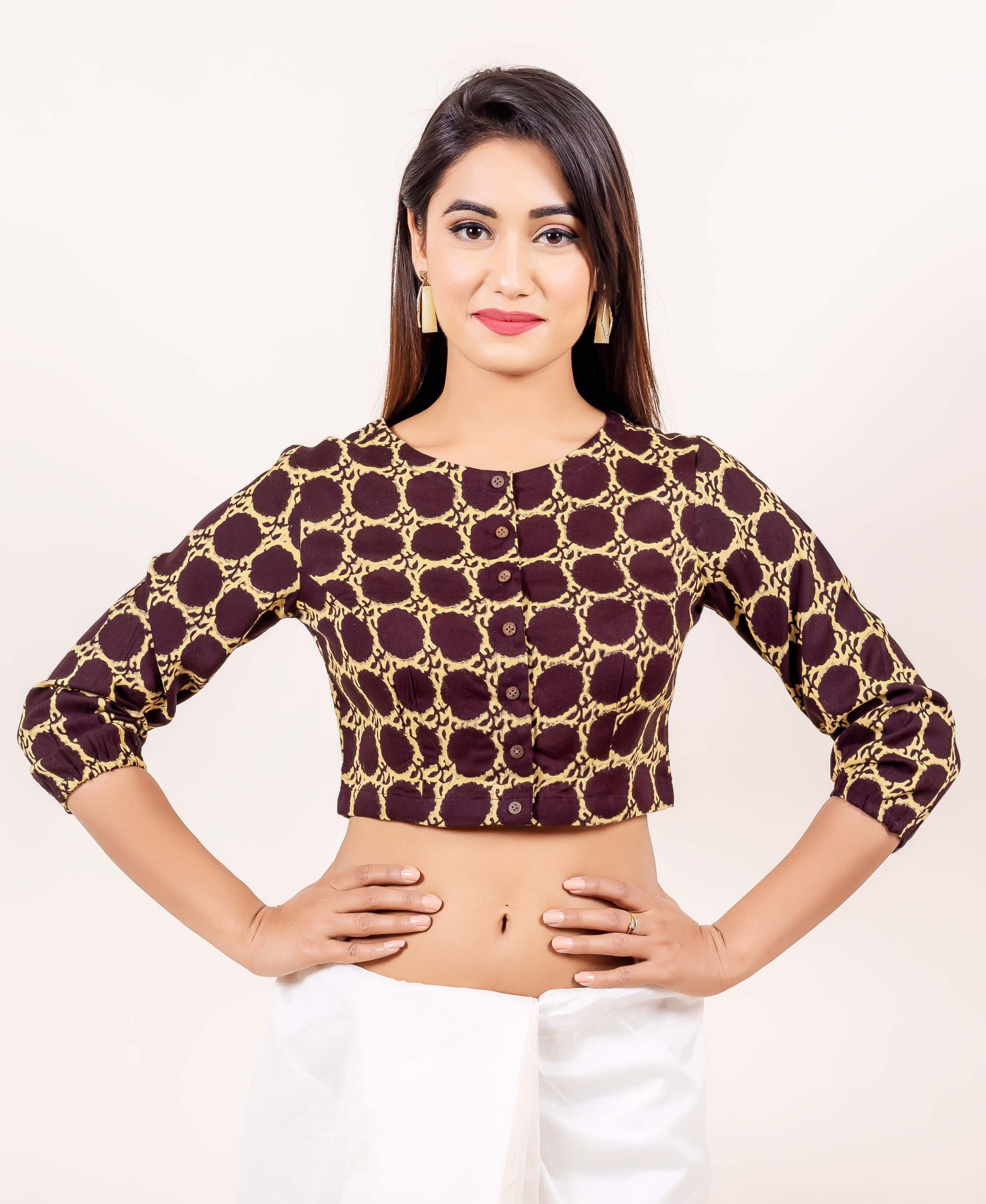 43357ff96ec Brown and Beige Hand Block Printed Cotton Blouse – MISSPRINT