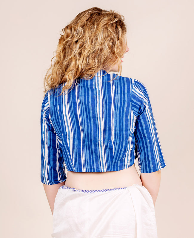 Blue and White Striped Hand Block Printed Crop Top Blouse