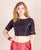 Black And Red Hand Block Printed Crop Top Blouse