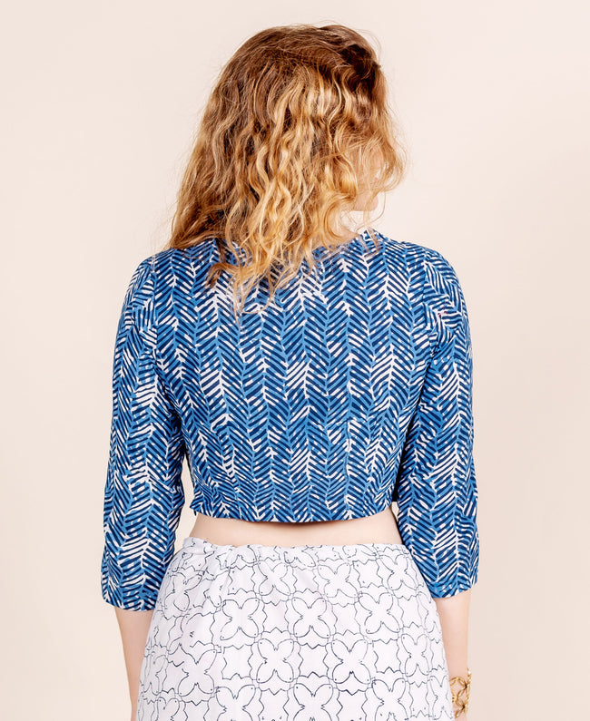 Blue Hand Block Printed Crop Top Blouse