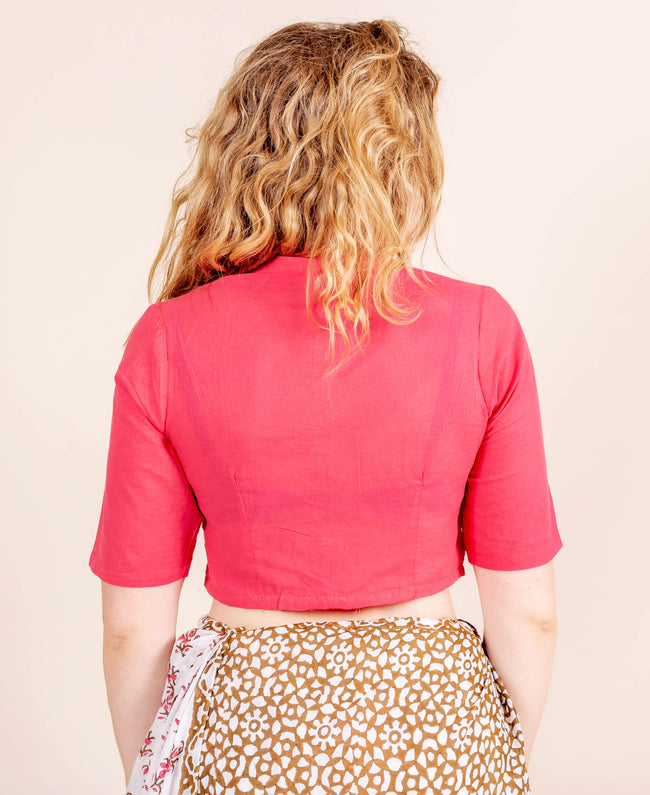 Red Mandarin Collar Front Button Crop Top Blouse