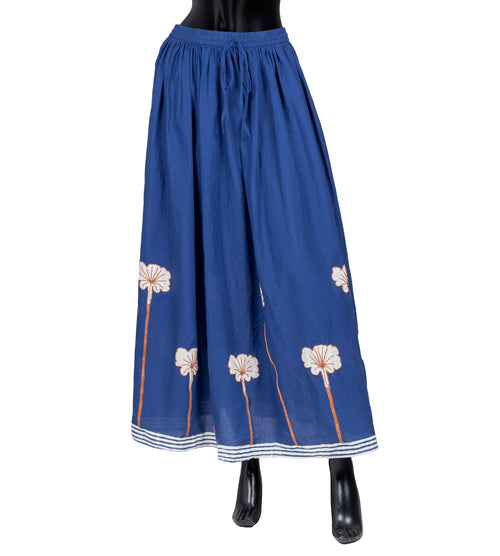 Printed Cotton Semi Flared Dori Embroidered Floor Length Skirt