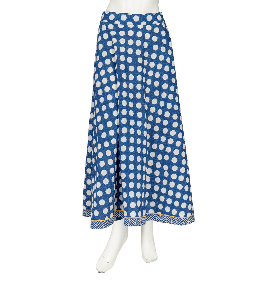 Flared Polka Dot Long Skirt With Chevron Border
