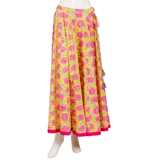 Yellow / Pink Wide Flare Floor Length Hand Block Print Skirt