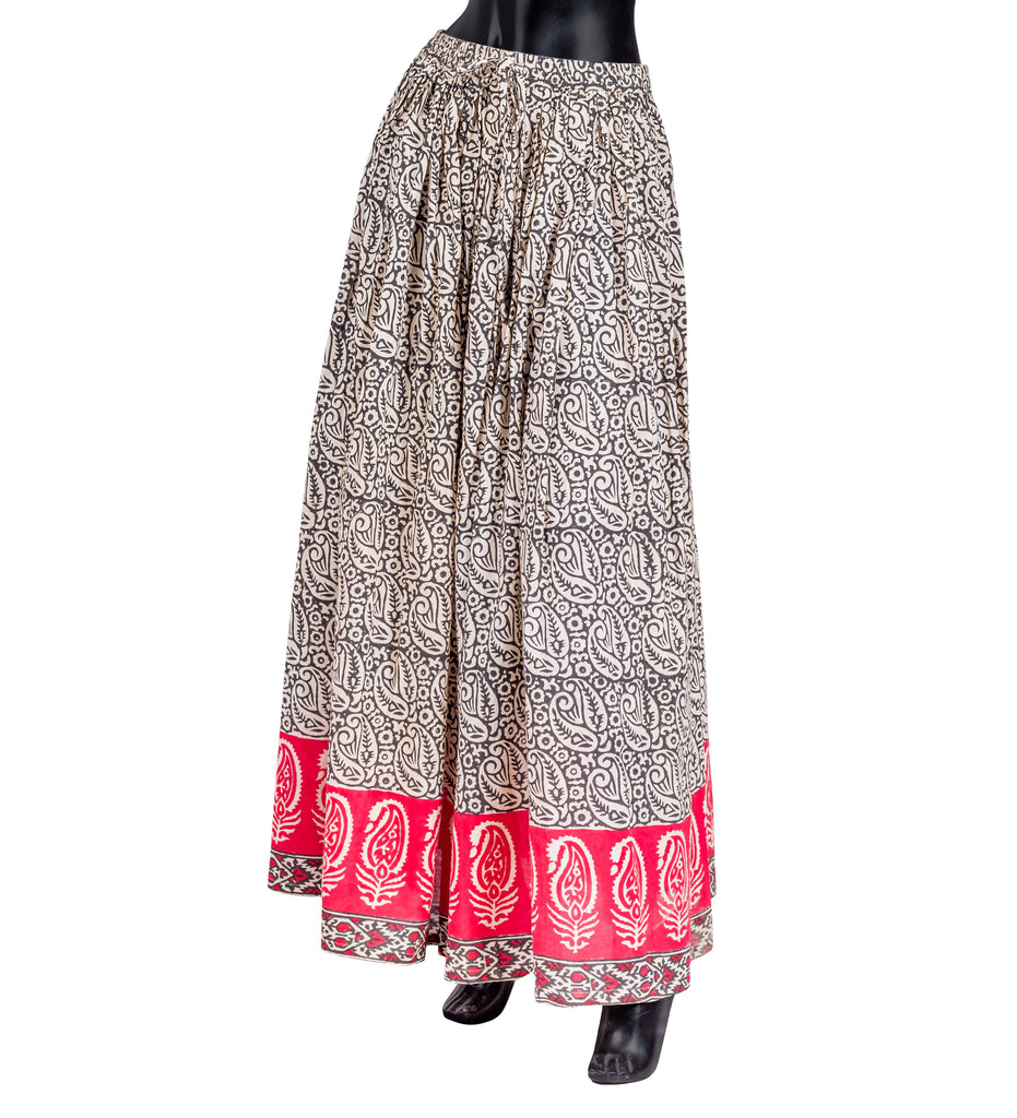 Floral Beige / Brown / Rust / Hand Block Print Wide Flare Skirt