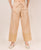 Beige Embroidered Solid Palazzo Pants