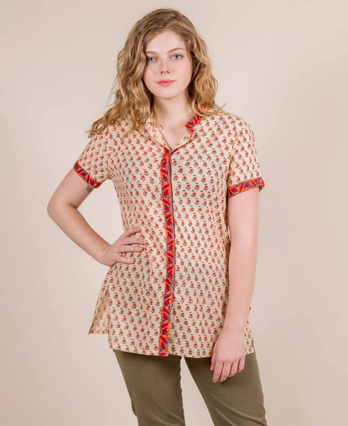 Beige Orange Booti Hand Printed Short Kurta Top