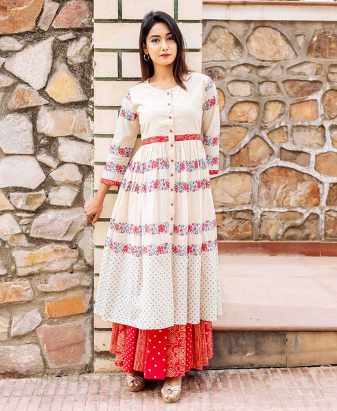 Beige and Red Block Printed Double Layered Dress
