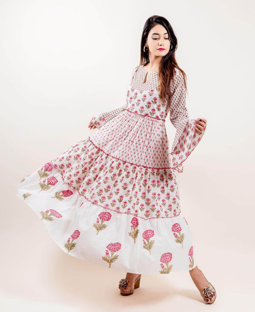 Bell Sleeved Block Print Cotton Tiered Long Dresses for women