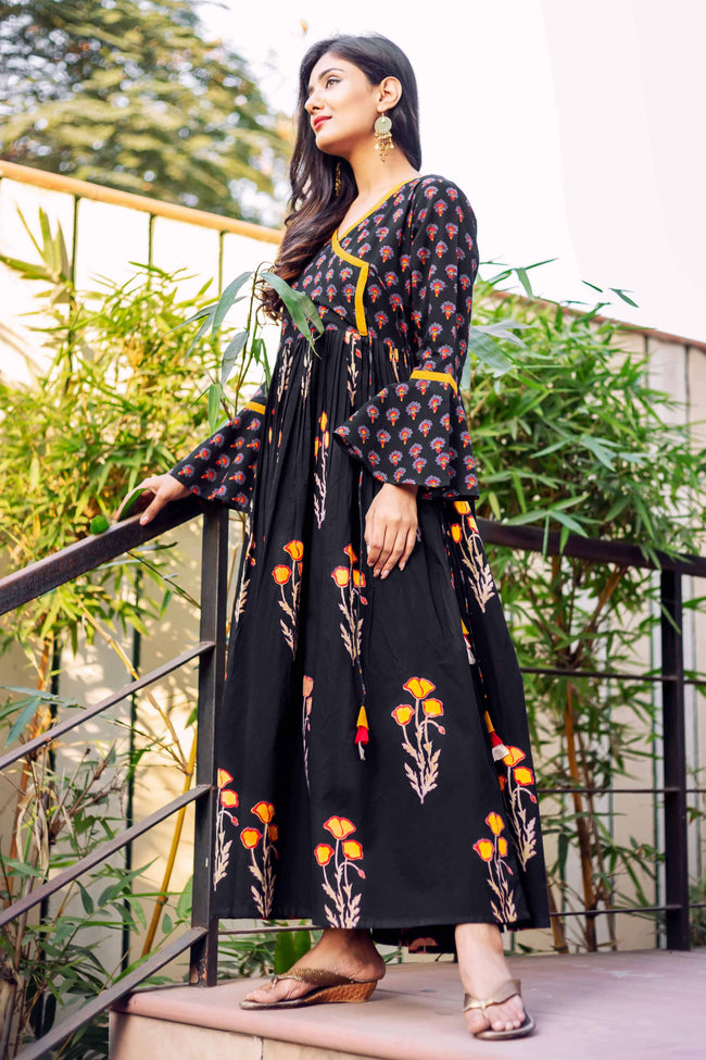 Bell Sleeves Black Cotton Printed Indo Western Style Angrakha Dresses Online for Women
