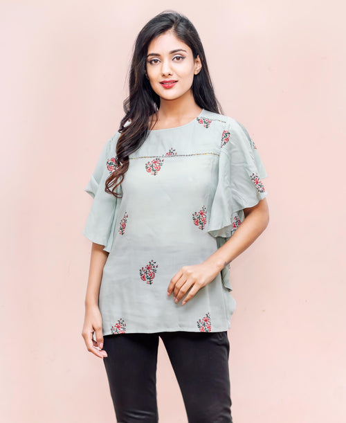 Bell Sleeves Rayon Hand Block Printed Tops for jeans and trousers