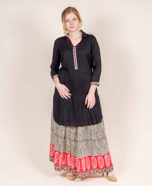 Black Full Collars Shirt Style Kurti with Skirt
