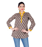 Brown / Beige Button Up Round Neck Hand Block Printed Ethnic Top
