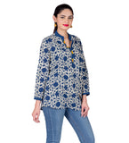 Indigo Blue / White Button Up Hand Block Printed Ethnic Top