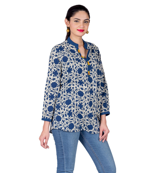 Indigo Blue  White Button Up Hand Block Printed Ethnic Top