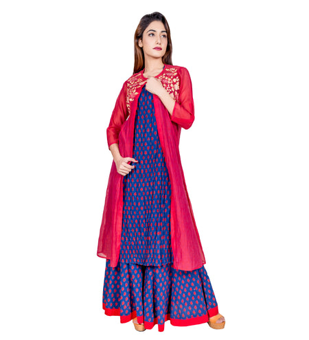 Off-White and Red Indo Western Style Long Kurta with Chanderi Jacket