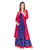Blue and Red Block Printed Indo Western Kurta with Chanderi Jacket & Palazzo