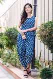 Block Printed Sleeveless Tops with Dhoti and Long Jacket Online