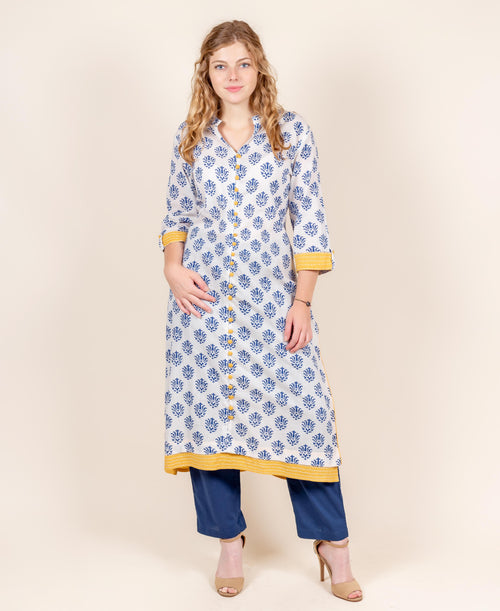 Blue And White Kurta With Pants