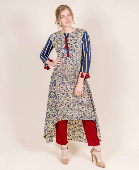 Indigo / Mustard Yellow Hand Block Print Indo Western Dress