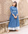 Blue Button Down Floor Length Dress online for womens