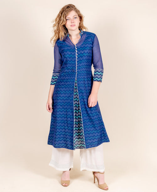 Blue Chanderi Hand Block Printed Kurta