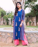 Blue Hand Block Printed Cotton Kurta with Solid Pleated Palazzo