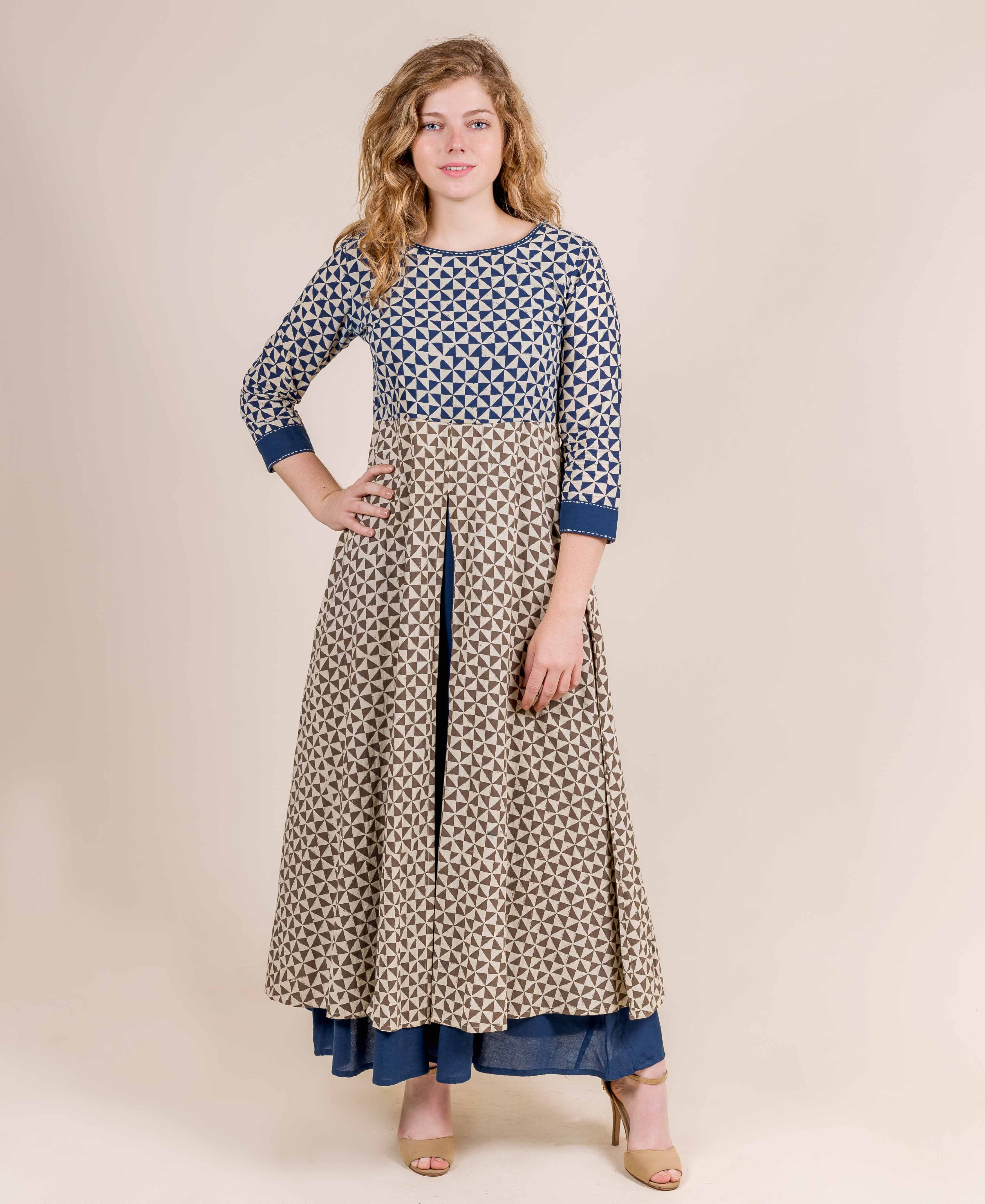 Blue and Beige Hand Block  Printed Indo-Western Long  Dress
