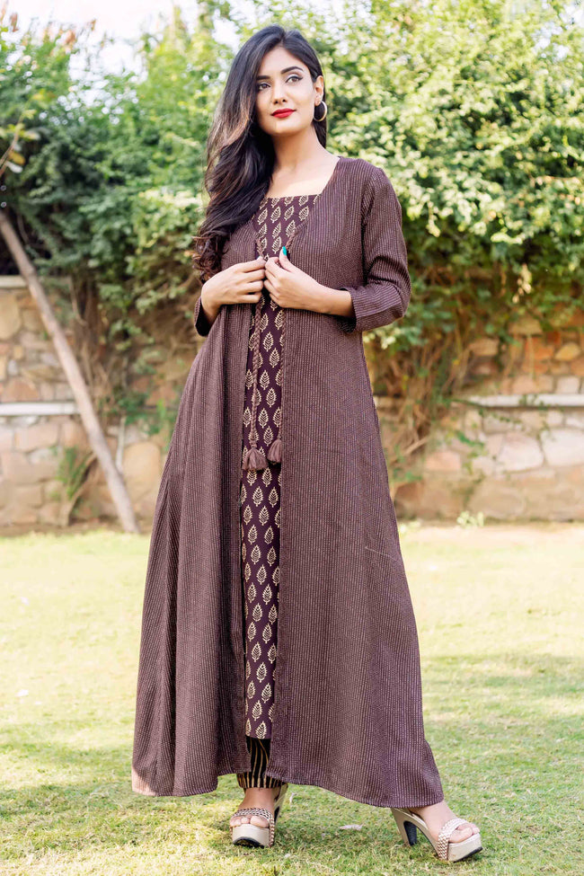 Brown Gold Long Jacket with Sleeveless Block Printed Inner and Pants