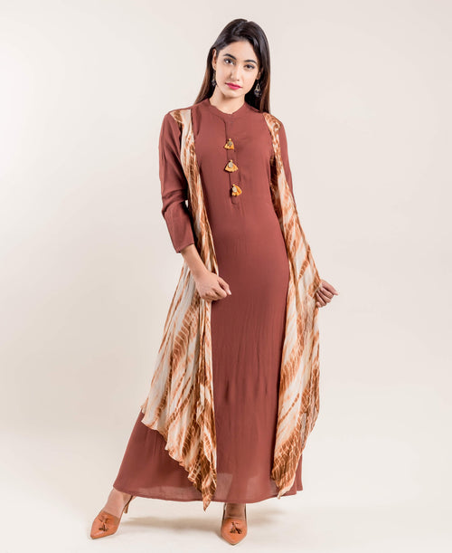 Solid Brown Indo Western Gown with Attached Tie & Dye Shrug