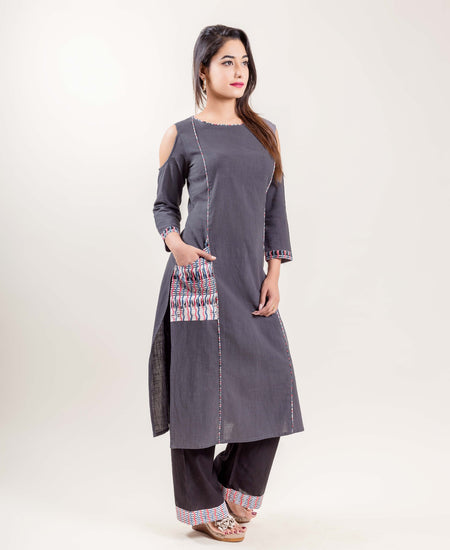 Layered Indigo Cotton Panel Printed Long Dress