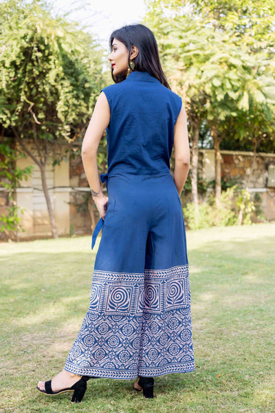 Cotton Hand Block Printed Full Length Designer Jumpsuits for Womens Online