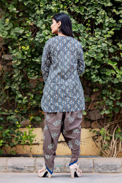 Cotton Printed Short Kurta with Dhoti Online Shopping