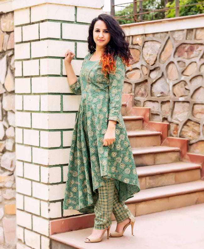 Designer Asymmetrical Kurta with Straight Printed Pants online