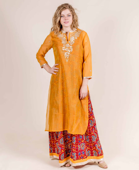 Embroidered Chanderi Jacketed Long Dress