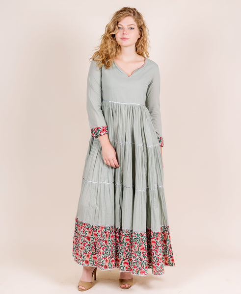Dusty Mint Hand Block Printed Indo Western Gown Dress