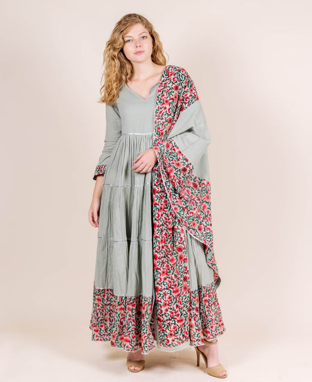 Round Neck Dusty Mint with Red and Peach Print Indo Western Gown
