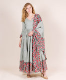 Dusty Mint Hand Block Printed Dress with Dupatta Online