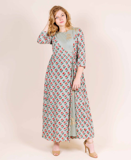 Round Neck Dusty Mint with Red and Peach Print Indo Western Dresses for women online