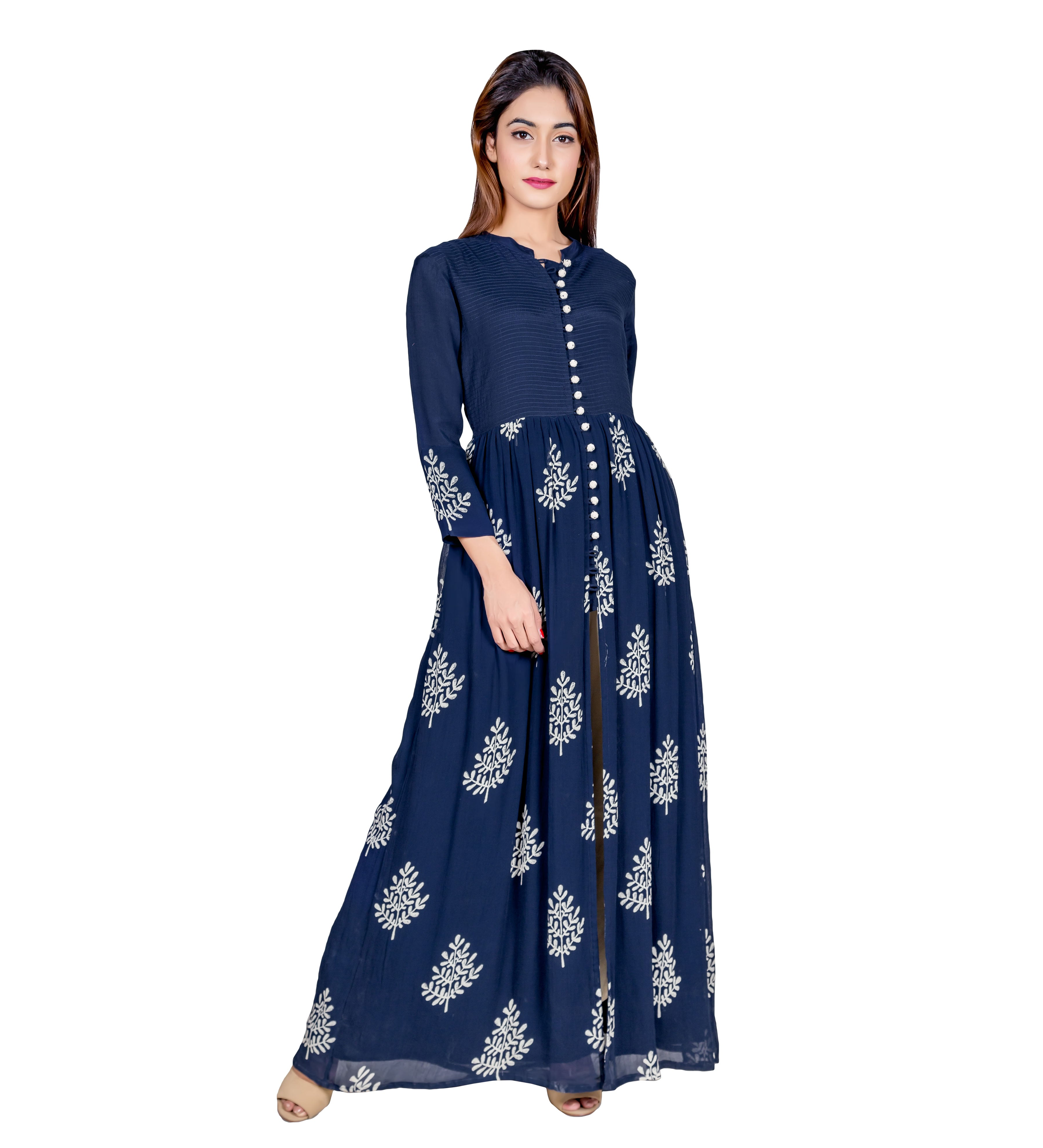 Navy Blue Hand Block Printed and Embroidered Cape Kurta Dress with Pants