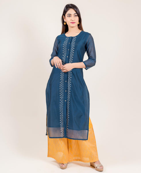 Embroidered Chanderi Straight Kurta