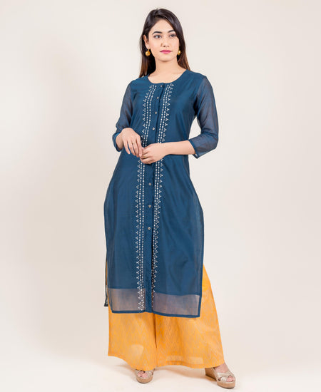 White and Blue Hand Block Print Indo Western Kurti