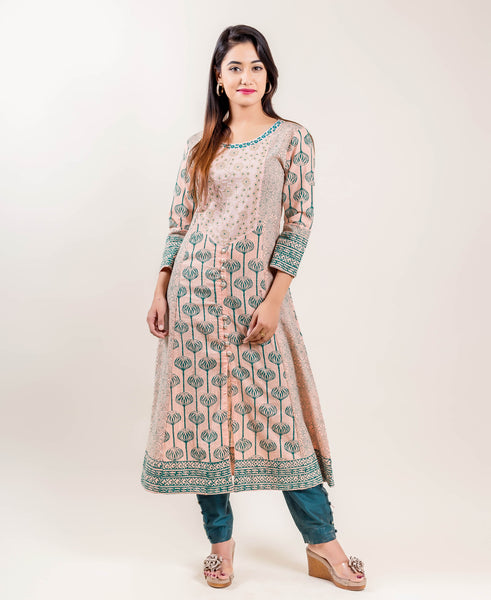 Embroidered Cotton A-Line Indo Western Suit Set In Peach And Teal
