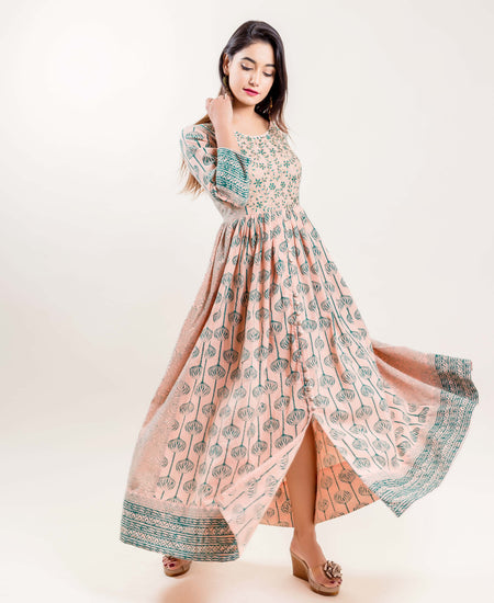 Coral High Low Embroidered Hand Block Printed Indo Western Dress