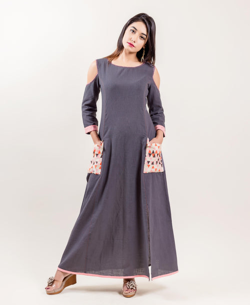 Embroidered Cotton Cold Shoulder Long Gown for women online