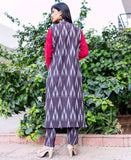 Embroidered Cotton Kurta with Ikat Jacket Online